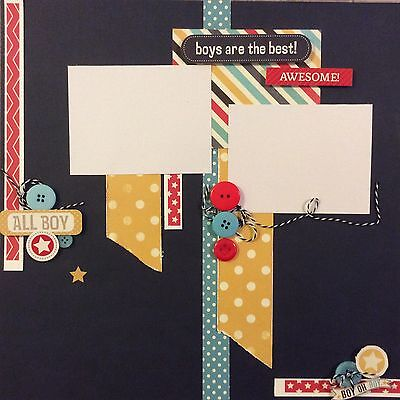 handmade scrapbook page 12 X 12 Boys Are The Best Themed Layout