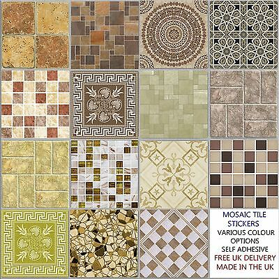 6 inch Cream Brown Tile Stickers Transfers Kitchen Bathroom Various design