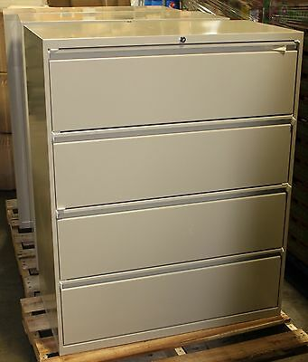 4 Drawer Office Lateral File Cabinet with Key, NEW, Metal, Bisque/Putty