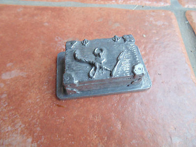 Vintage Tin Pewter Chest Trunk Sculpture Ornament Pirate 95% Zinn Marked Angel