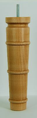 "4 TURNED WOODEN LEGS 250mm (10"")  E843-Nw WOOD FOOTSTOOL LEGS, Hand Finished"