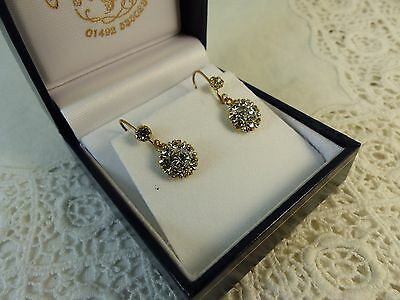 Antique Victorian 9ct 9carat Yellow Gold Crystal Drop Earrings