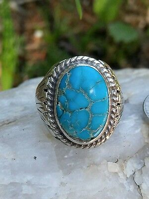 Vtg Native American Navajo Turquoise Sterling Silver Ring Size 8