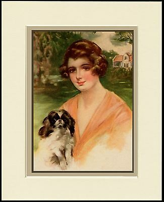 Japanese Chin Little Dog And Lady Charming Dog Print Mounted Ready To Frame