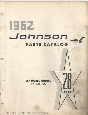 1962 Johnson RX RXL 10C Motor Engine Parts Power Boat Brochure na0194