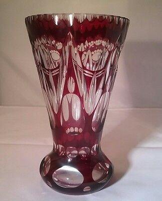 Beautiful vintage Bohemian crystal Ruby Red cut to clear vase