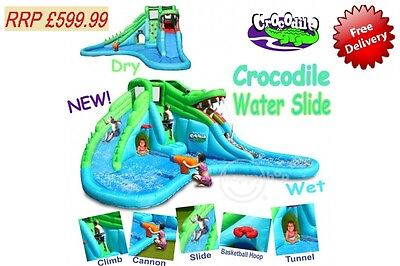 NEW! WHappy Hop Crocodile Double Water Slide and Paddling Pool Bouncy Castle