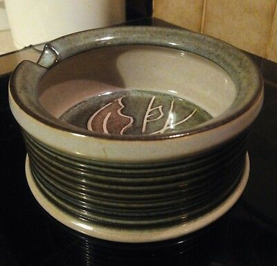 VINTAGE Denby ashtray, FRESCO Pattern, excellent condition. Grey leaves/green.