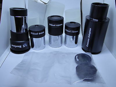 "1.25"" Telescope PLOSSL Eyepieces Set + 2X Barlow Lens Camera Adaptor Moon Filter"