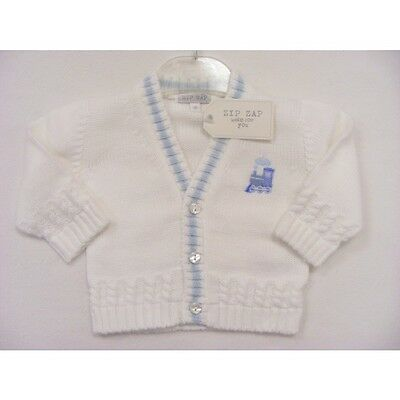 Baby Boys Traditional Knitted Cardigan White & Sky Blue Train Motif by Zip Zap