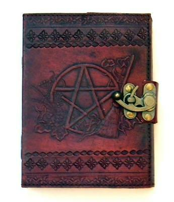 "5""x7"" Leather Bound Locking Pentagram & Broom Book of Shadows, Journal, Diary!"