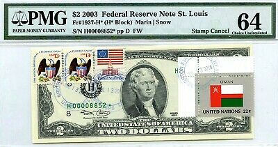 Money Us $2 Dollars Federal Reserve Star Note 2003 Pmg  Flag Of Oman Ch Unc