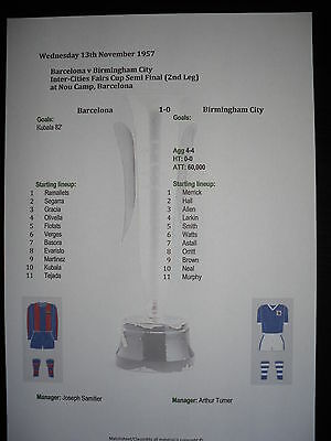 1957 Fairs Cup Semi Final (2nd Leg) Barcelona v Birmingham City Matchsheet