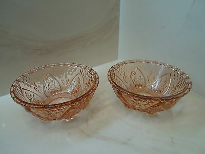 """Two KIG Indonesia Pink Glass Floral Bowls - 5"""" in diameter."""