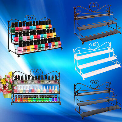 Nail Polish Rack Organizer 3 Tiers Metal Wall Mounted Stand Holder Display New W