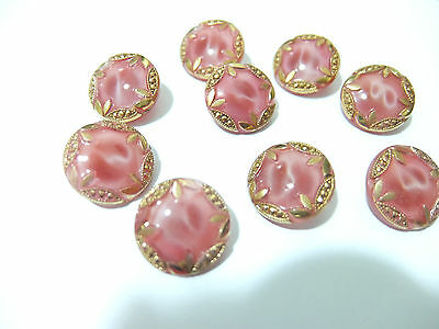 Set 9 gorgeous pink & gold glass moonglow buttons.18mm