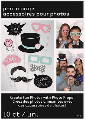 Pack of 10 Wedding Photo Booth Props SELFIE Kit Set Party Fun Table Decoration
