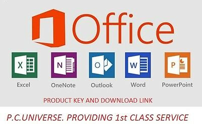 Microsoft Office pro plus 2016  license FOR UP TO 5 PCs + download link