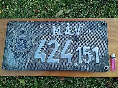 Very rare the legendary Hungarian 424 locomotive plate,table