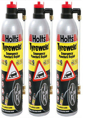 Holts Tyre Weld Emergency Puncture Repair 3 Can 500ml - Ht4Ya