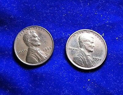 1934/35-P Lincoln Red Brown 1C Higher Grade Pair **REDUCED LOW START BID!!**B76