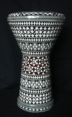 Egyptian Darbuka Doumbek Goblet Drum Black-Red-White Mosaic + extra head and bag