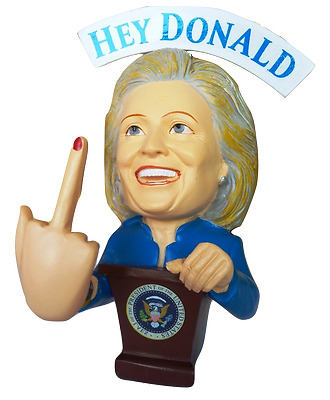 Hillary Clinton F##K You Donald Trump Bobble Middle Finger Bobblehead - Election