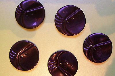 5 vintage black Art Deco buttons 28 mm. diam (?bakelite/marked ENGLAND on back)