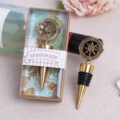 Nautical Helm Design Red Wine Bottle Stopper Wedding Favours and Gifts Gold