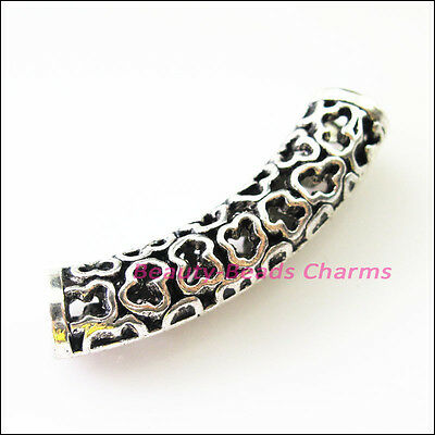 2Pcs Tibetan Silver Wave Tube Spacer Beads Charms Connectors 40.5mm