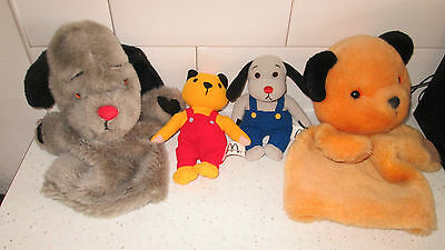 """Plush Sooty And Sweep Hand Glove Puppets + 6"""" Sooty & Sweep Soft Toy"""