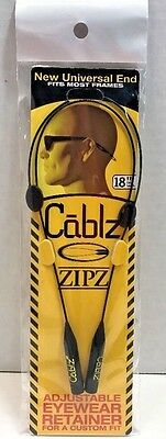 "CABLZ 18"" Black Sunglasses Glasses Holder ZIPZ Adjustable Eyewear Retainer"
