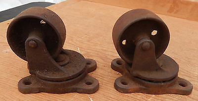 PAIR Antique Ball Bearing Swivel Cast Iron Wheels B5 - $10 OFF!! SALE
