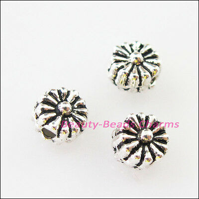 80Pcs Tibetan Silver Tiny Round Flower Flat Spacer Beads Charms 4.5mm