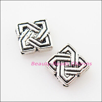 25Pcs Tibetan Silver Square Chinese Knot Spacer Frame Beads Charms 7mm
