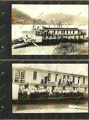 Historic Album OHIO WABASH RIVER SURVEY 1913 Sternwheeler Quarterboats Steamboat
