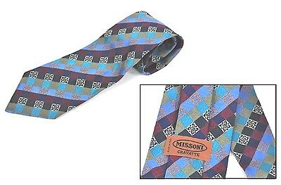 Cravatta MISSONI Geometrico Multicolore 100% Seta Made in Italy Tie Silk Vintage