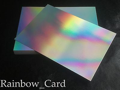 50 Sheets - Silver Rainbow Holographic A4 Card 280 Gsm