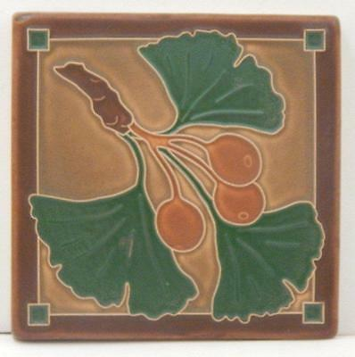 6x6 Arts & Crafts Gingko Tile in Dark Oak by Arts & Craftsman Tileworks E203