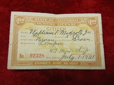 1921 HUNTING LICENSE State of California EXPIRED 1922 Lompoc Ca