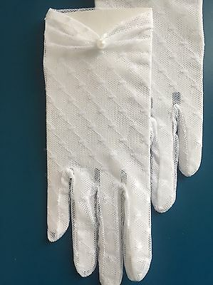 White Communion Flower Girl Ruched Gloves Pearl Tulle Lace Elegant Chic