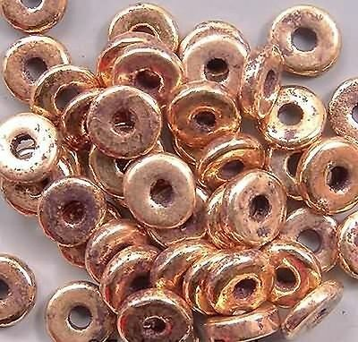 8mm Greek Disk Beads 2mm Hole Antiqued Gold Plate G89 Large Hole Discs Rondelle