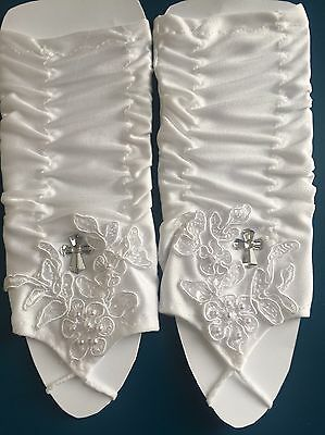 FAB White Communion Flower Girl Gloves Ruched Pearls Lace Diamanté Cross