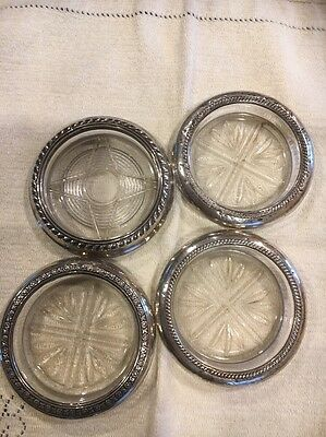Set Of 4 Vintage Sterling And Crystal Coasters