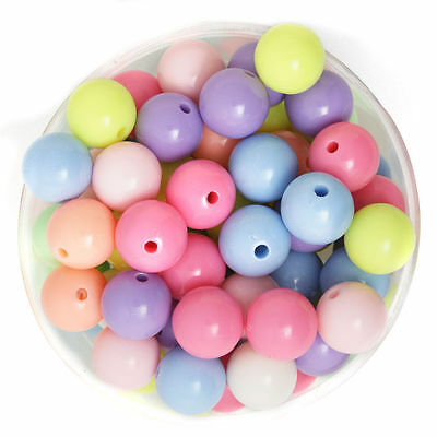 500X Mixed Color Acrylic Plastic Smooth Round Ball Loose Spacer Beads 8mm US EN