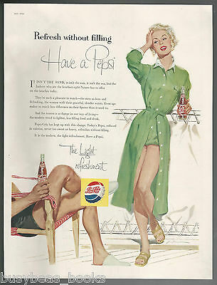 1955 PEPSI advertisement, blonde lady on deck, Pepsi-Cola large size ad