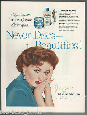 1956 LUSTRE-CREME Shampoo advertisement, red-head Actress JEANNE CRAIN, large ad