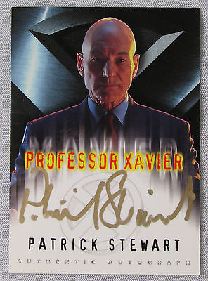 X-Men The Movie Patrick Stewart As Professor Xavier Autograph Card In Gold Auto