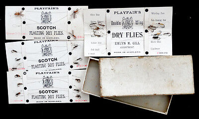 Antique CHARLES PLAYFAIR Vintage 1920's SCOTCH DRY FLIES Fly Fishing Lure in BOX