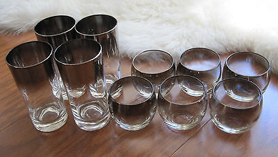 10 Vintage Lustreware Glasses Silver Fade Ombre 6 Roly Poly 4 Highball UNK1387